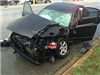 Black Car with the Front Totaled