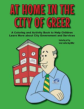 At Home in the Cityof Greer Coloring Book Cover