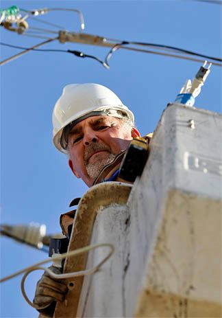 Man Working on Electric Lines
